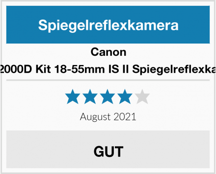 Canon EOS 2000D Kit 18-55mm IS II Spiegelreflexkamera Test